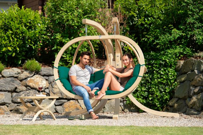 Hanging Chair with Stand 'Globo Royal' Weatherproof Green
