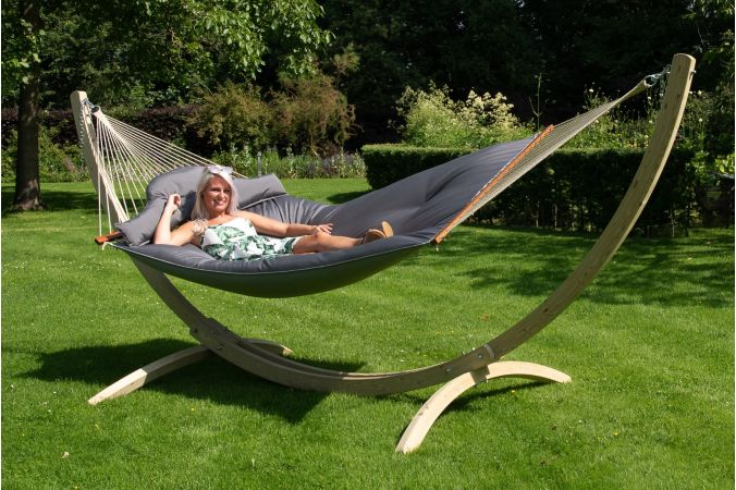 Hammock with Family Stand 'Wood & Big Fat' Grey