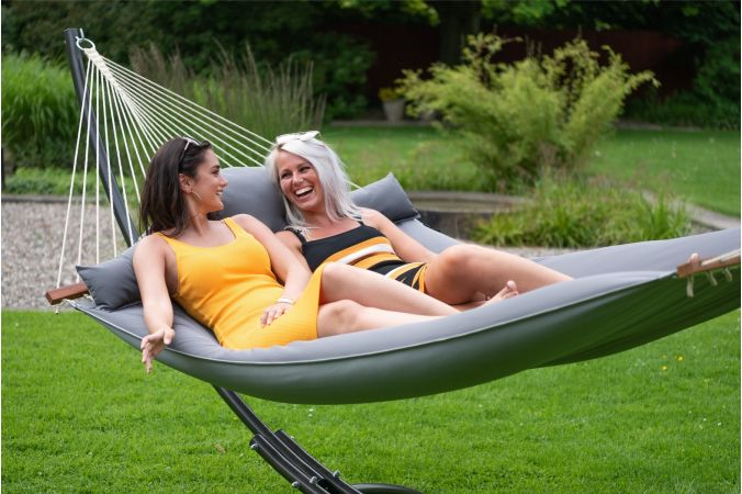 Hammock with Family Stand 'Arc & Big Fat' Grey