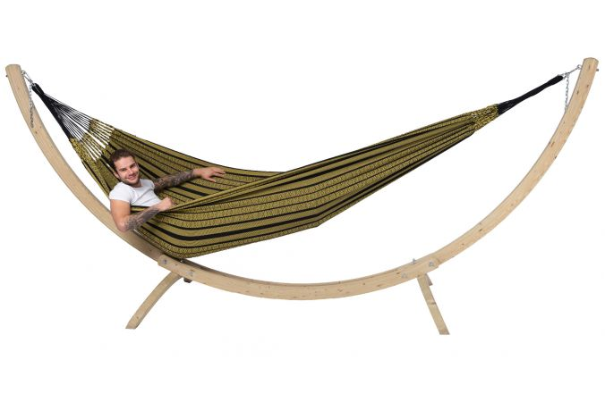 Hammock with Family Stand 'Wood & Black Edition' Gold