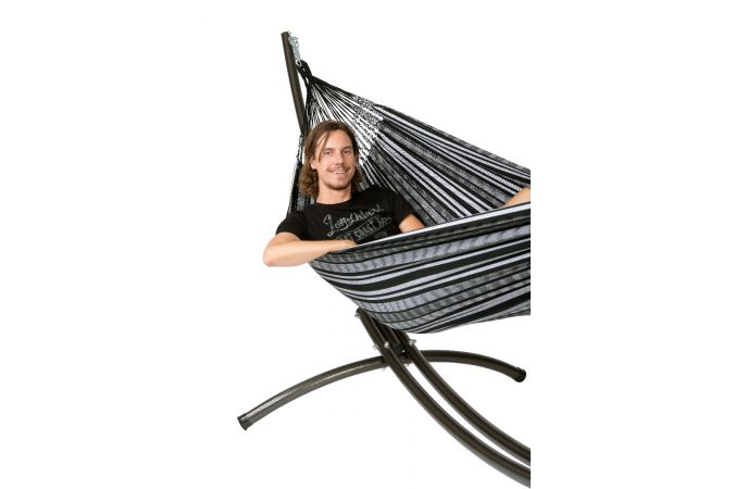 Hammock with Double Stand 'Arc & Comfort' Black White