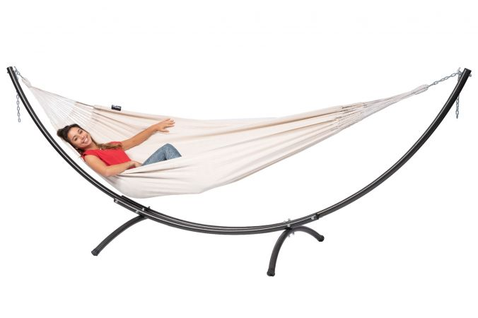 Hammock with Double Stand 'Arc & Comfort' White