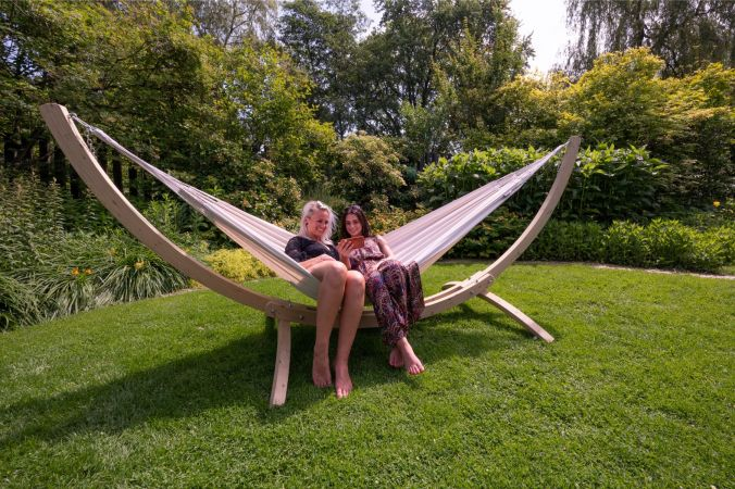 Hammock with Double Stand 'Wood & Comfort' White