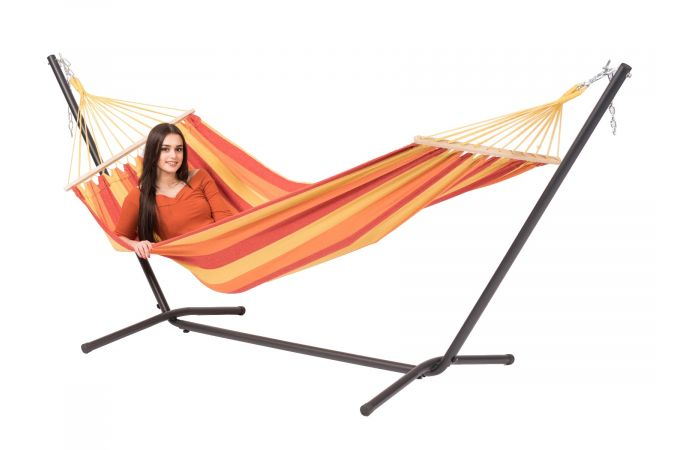 Hammock with Single Stand 'Easy & Dominica' Fire