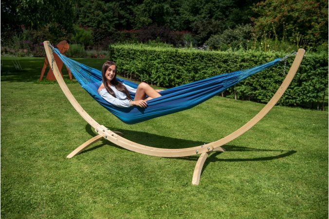 Hammock with Single Stand 'Wood & Dream' Blue