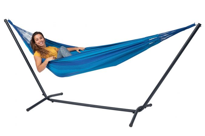 Hammock with Single Stand 'Easy & Dream' Blue