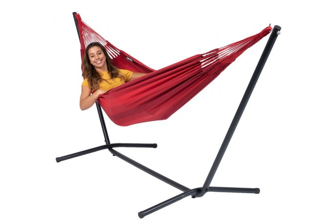 Hammock with Single Stand 'Easy & Dream' Red