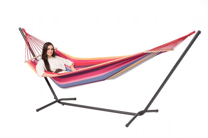 Hammock with Single Stand 'Easy & Martinque' Raspberry