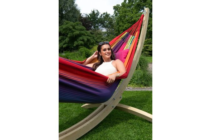 Hammock with Family Stand 'Wood & Refresh' Rainbow