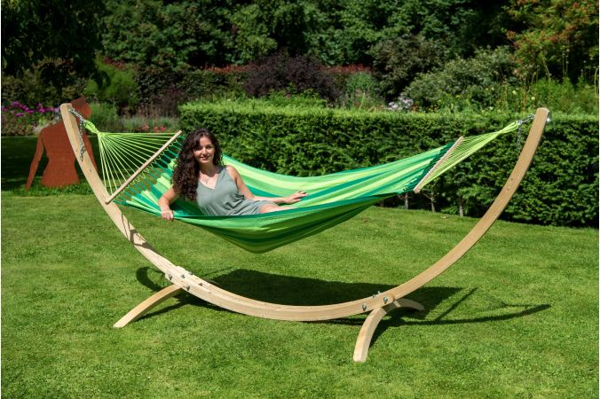 Hammock with Single Stand 'Wood & Relax' Green
