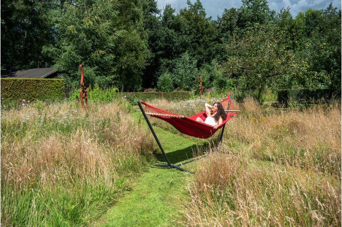 Hammock with Single Stand 'Easy & Relax' Red