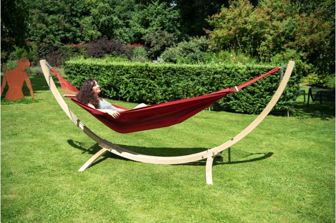 Hammock with Single Stand 'Wood & Relax' Red