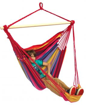 Hanging Chair Single 'Tropical' Raspberry Lounge