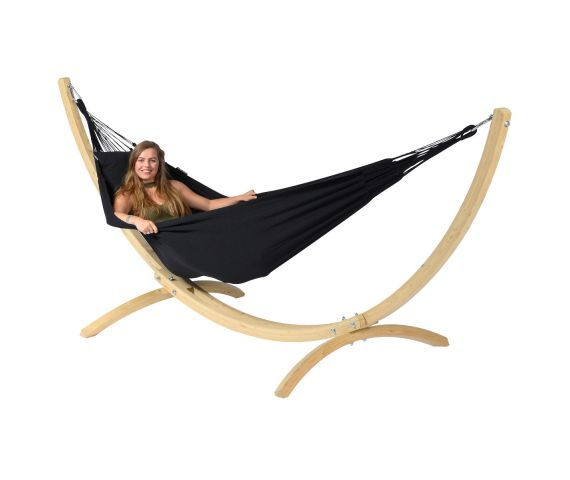 Hammock with Single Stand 'Wood & Classic' Black