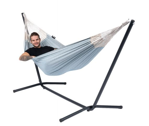 Hammock with Single Stand 'Easy & Natural' Blue