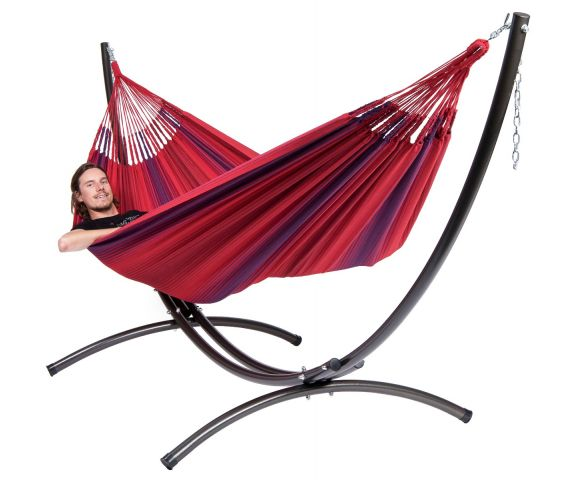 Hammock with Family Stand 'Arc & Refresh' Bordeaux