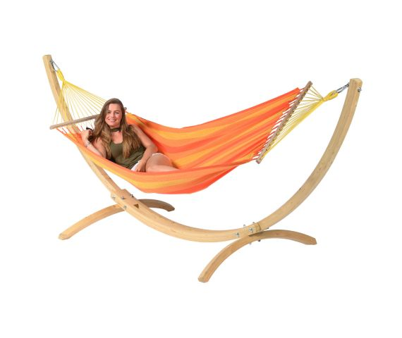 Hammock with Single Stand 'Wood & Relax' Orange