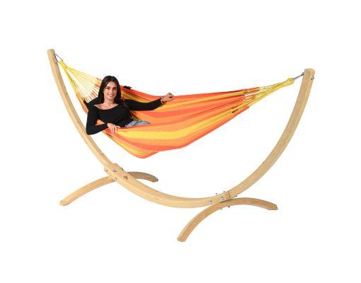 Hammock with Single Stand 'Wood & Dream' Orange
